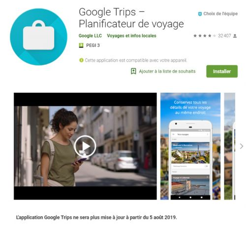 L'application Google Trips ne passera pas l'été