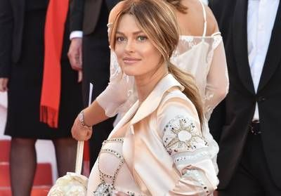 Caroline Receveur attends the the 71st Cannes Film Festival wearing GEORGES HOBEIKA